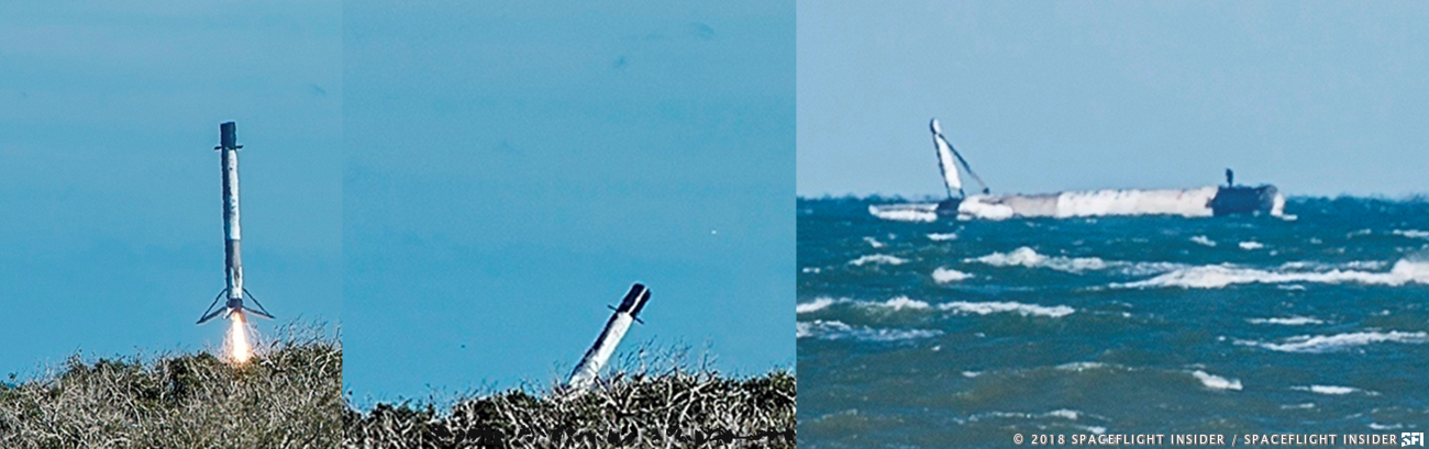 Unplanned water landing of Block 5 Falcon 9 used on the CRS-16 mission. Photo Credit: SpaceFlight Insider