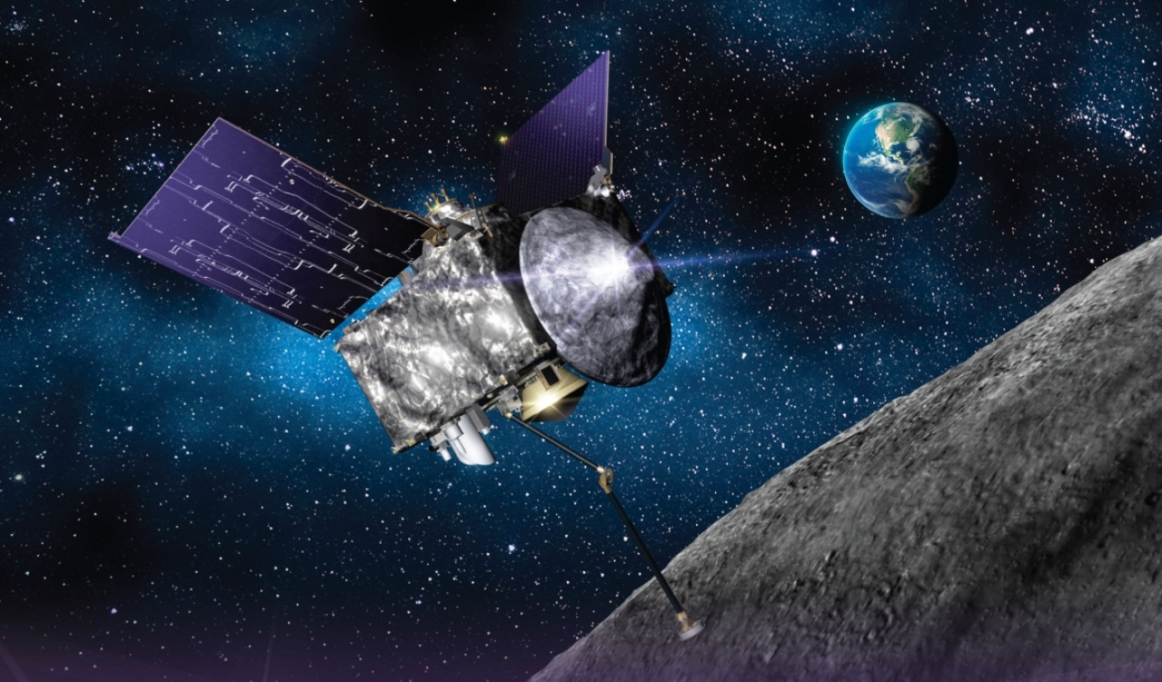 Artist's depiction of OSIRIS-REx spacecraft at the asteroid Bennu. Image Credit: Lockheed Martin / NASA