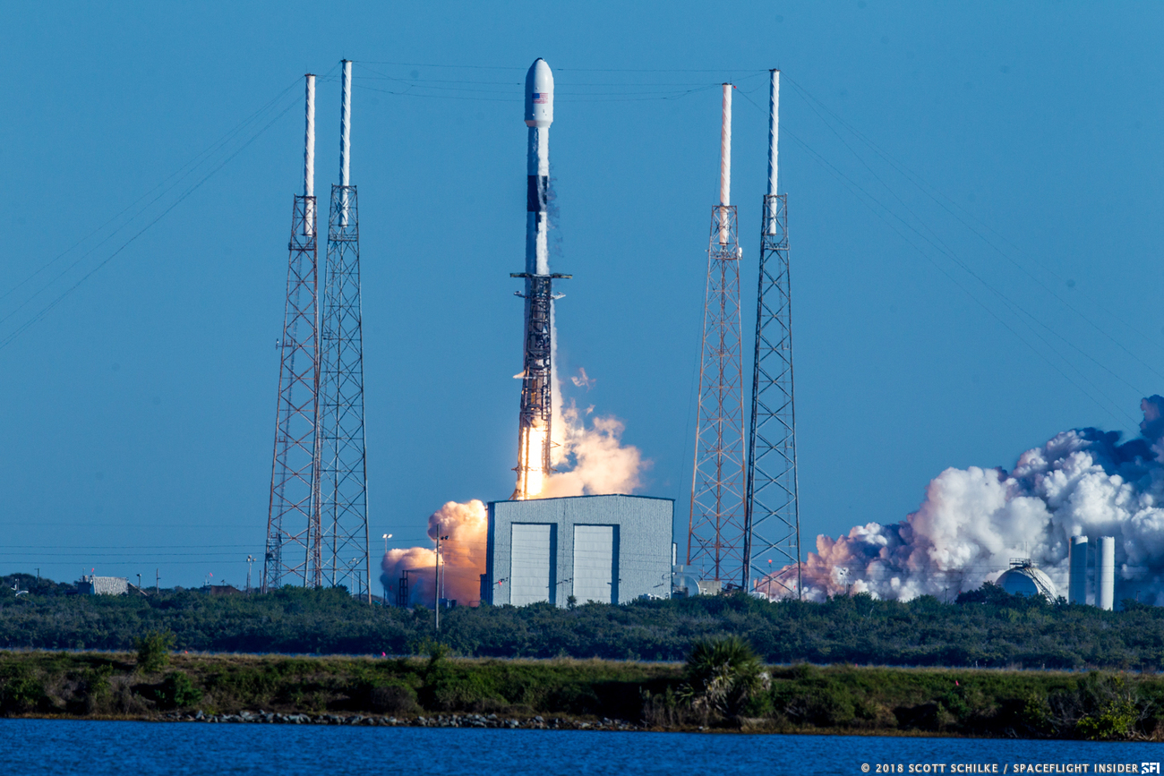 "A SpaceX Falcon 9 rocket lifts off from Cape Canaveral's Space Launch Complex 40 with the ""Vespucci"" GPS III satellite on Sunday, Dec. 23, 2018. Photo Credit: Scott Schilke / SpaceFlight Insider"