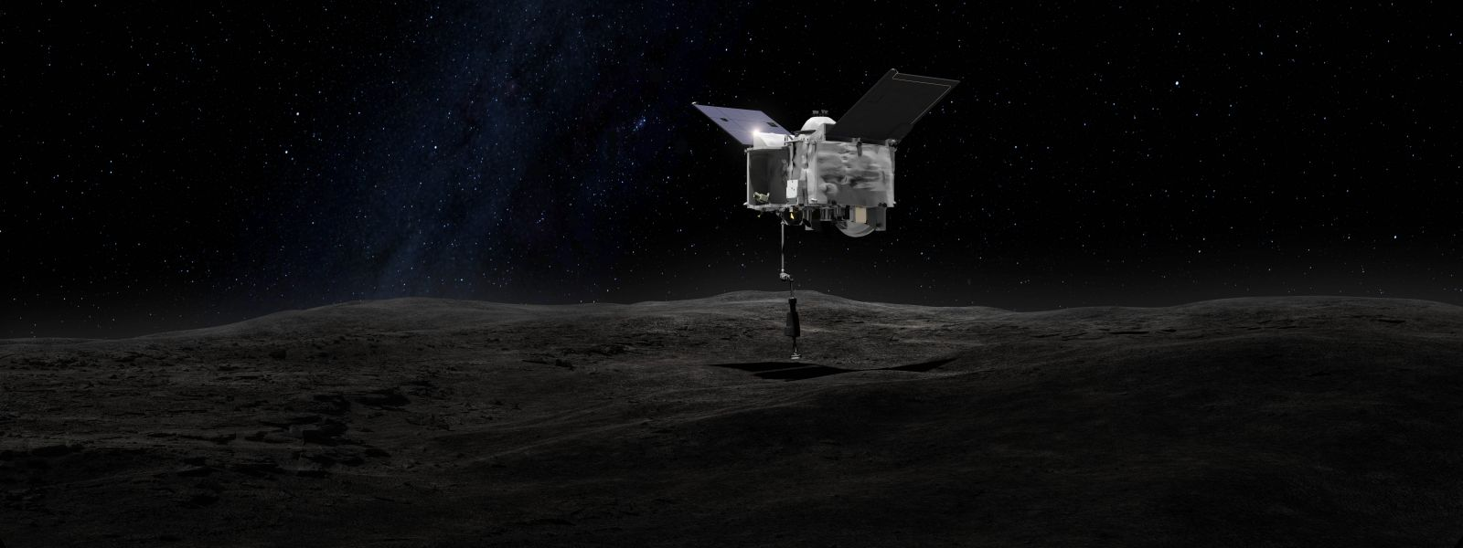 An artist's rendering of the OSIRIS-REx Touch-And-Go Sample Arm Mechanism collecting a sample of asteroid Bennu. Photo Credit: NASA / Goddard Space Flight Center