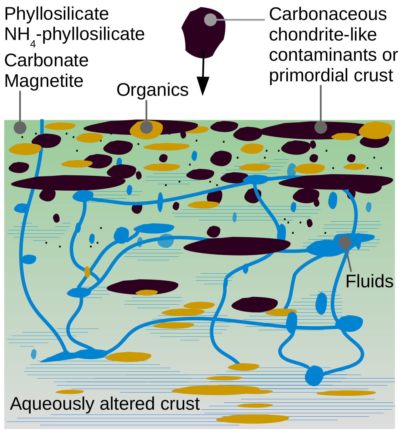SwRI scientists constructed a possible schematic path for the evolution of Ceres' upper crust. The figure shows the presence of carbonaceous chondrite-like materials (black) mixed with products of aqueous alteration such as phyllosilicates, carbonates and magnetite, shown in green, and organics, shown in orange. Shaded blue regions indicate water, and blue lines represent conduits for water migration. Organics may have formed in place during aqueous alteration or could have been concentrated by fluids ascending to the upper crust, resulting in the inferred higher-than-chondritic carbon concentration on Ceres' surface. Over time, the surface gets homogenized by mixing due to collisions and other processes. Image Credit: NASA/JPL-Caltech/UCLA/MPS/DLR/IDA