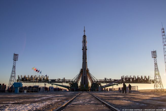 The Soyuz-FG rocket that launched Soyuz MS-11 stands at the launch pad in Baikonur Cosomdrome several days before liftoff. This was the first human launch atop a Soyuz-FG rocket following the Oct. 11, 2018, in-flight abort of Soyuz MS-10. Photo Credit: Sean Costello / SpaceFlight Insider