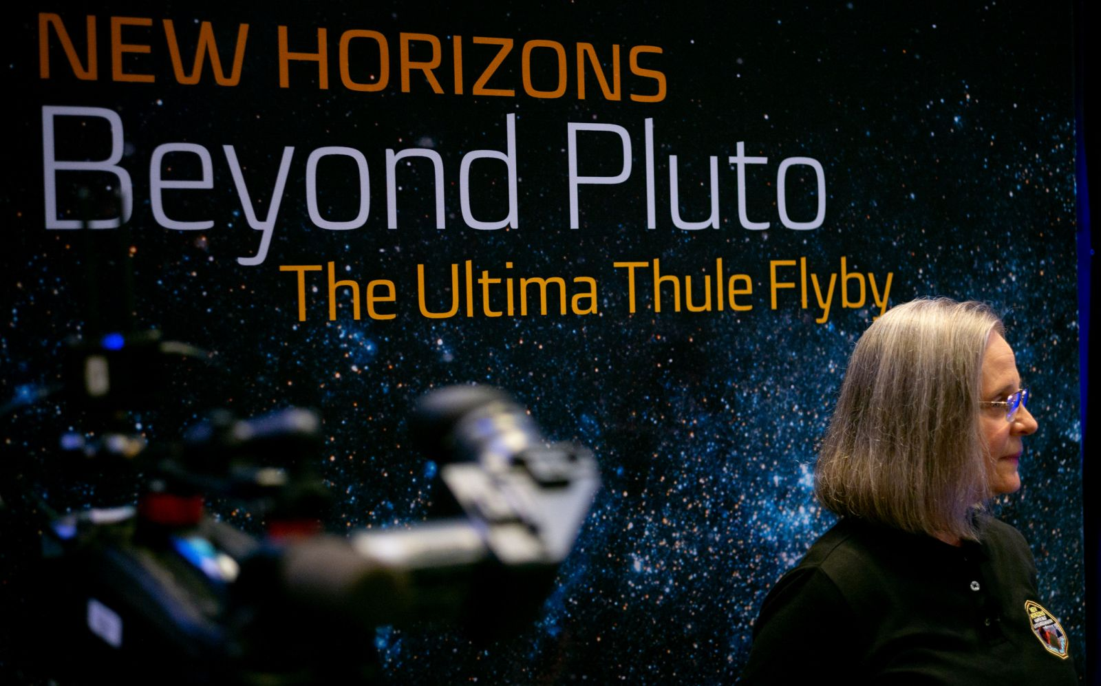 Alice Bowman before the press conference after the team received signals confirming the successful flyby of Ultima Thule. Photo Credit: Joel Kowsky / NASA