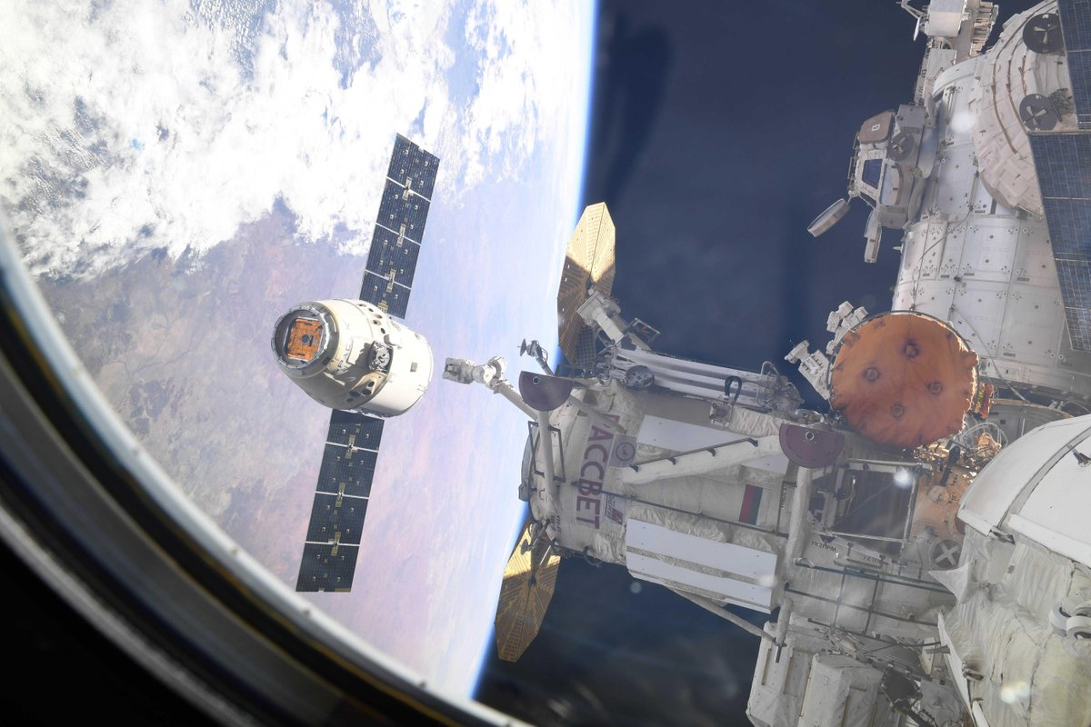 The CRS-16 Dragon departs the International Space Station. Photo Credit: David Saint-Jacques / CSA