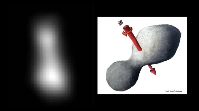On the left is an enhanced view of Ultima Thule hours before the flyby. On the right is an illustration of its spin direction. Photo Credit: Johns Hopkins APL