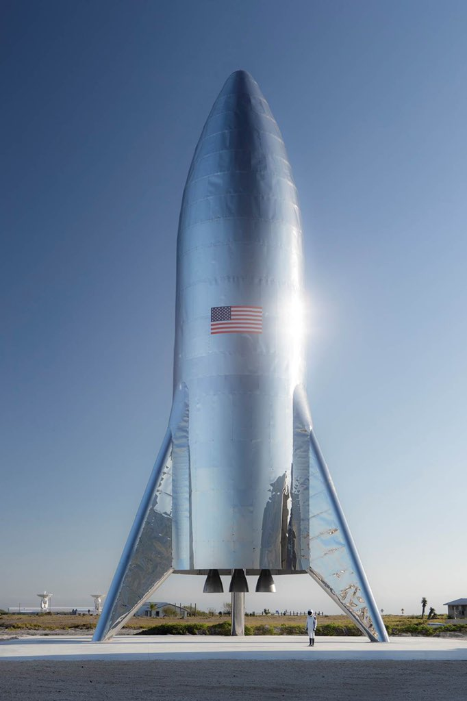 The completed Starship test article at SpaceX's Texas launch site. Photo Credit: Elon Musk / SpaceX