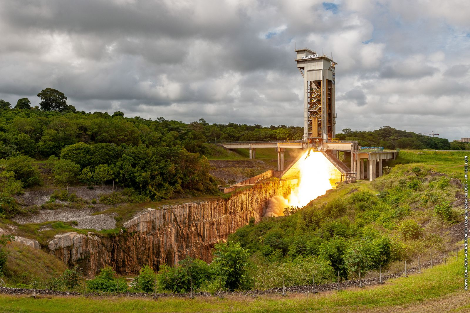 A test article of the P120C rocket motor was tested in French Guiana on Monday, Jan. 28, 2019. Photo Credit: ESA/CNES