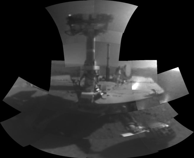 A self-portrait of the Opportunity rover created using the Microscopic Imager on the vehicle's robotic arm. The images were taken between sol 5,000 and 5,006. Photo Credit: NASA/JPL-Caltech
