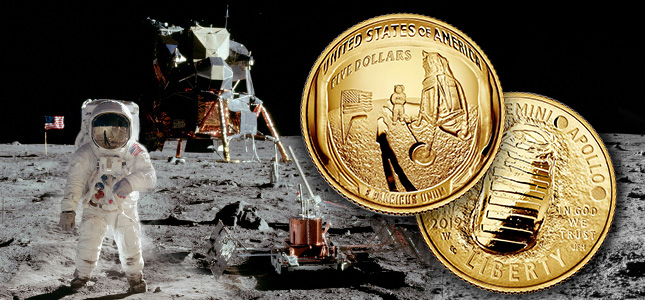 Apollo 11 50th anniversary lunar landing commemorative coin