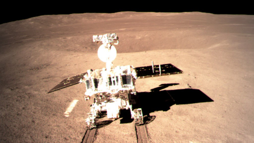 Following the successful landing of the Chang'e 4 lander, the Yutu-2 rover rolled onto the surface of Von Karman crater on the far side of the Moon. Photo Credit: CNSA