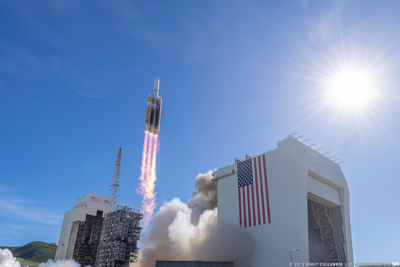 United Launch Alliance carried out its first flight in 2019 using the mightiest rocket in its arsenal - the Delta IV Heavy. Photo Credit: Ashly Cullumber / SpaceFlight Insider