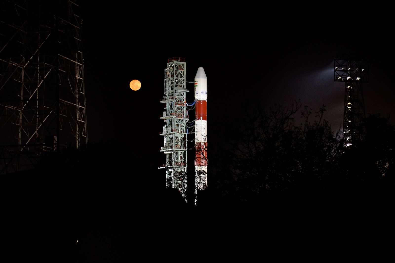 The PSLV-DL sits on the First Launch Pad in advance of its first launch. Photo Credit: ISRO