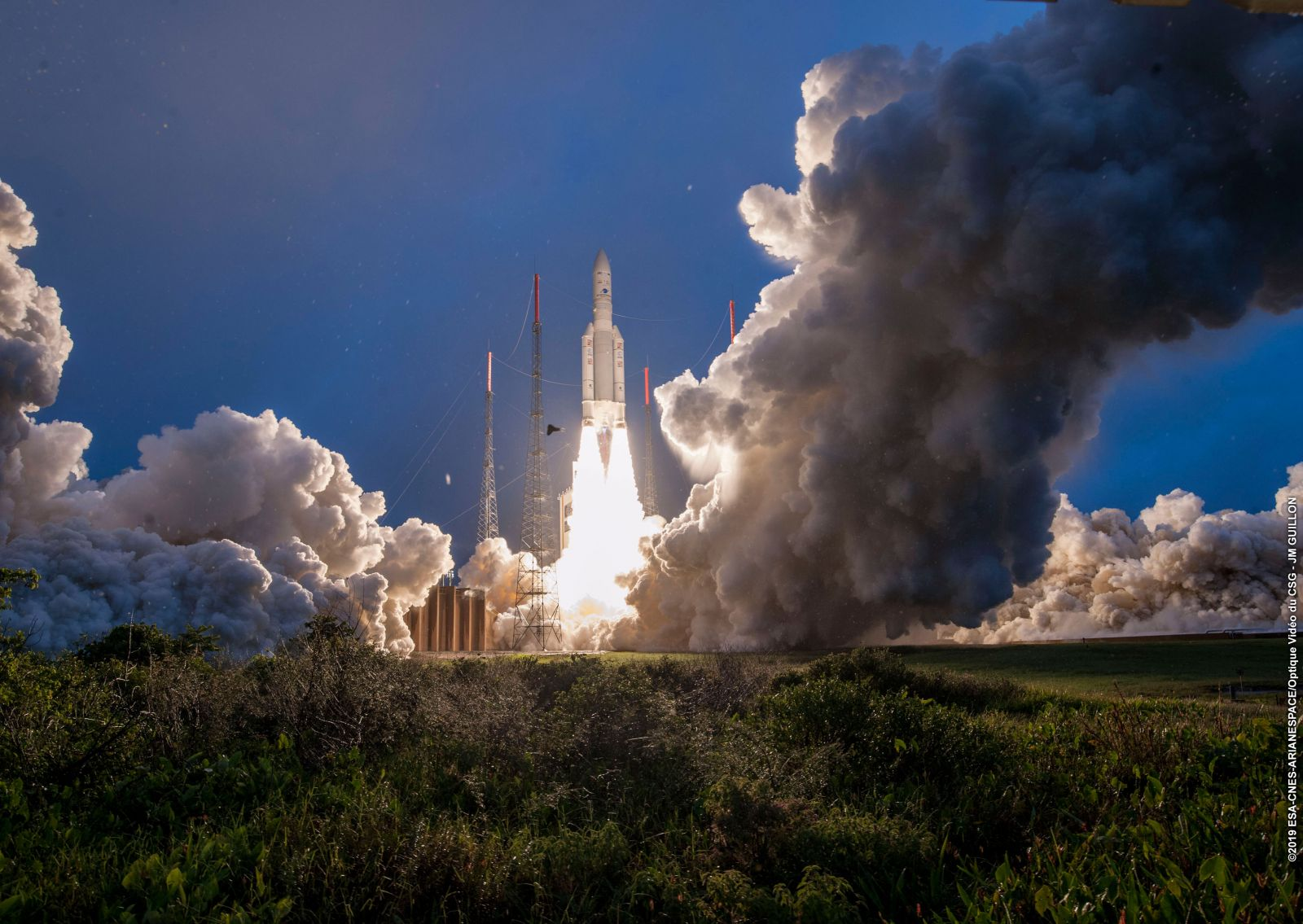 An Ariane 5 rocket rises skyward to send two communications satellites into geostationary orbit. Photo Credit: Arianespace