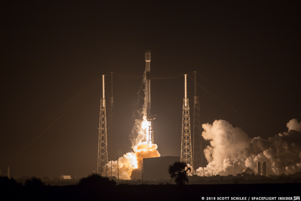 SpaceX's Falcon 9 rocket lifts off from Space Launch Complex 40 at Cape Canaveral Air Force Station to send the PSN 6 communications satellite, a small spacecraft for the U.S. Air Force and a commercial lunar lander from Israel. Photo Credit: Scott Schilke / SpaceFlight Insider