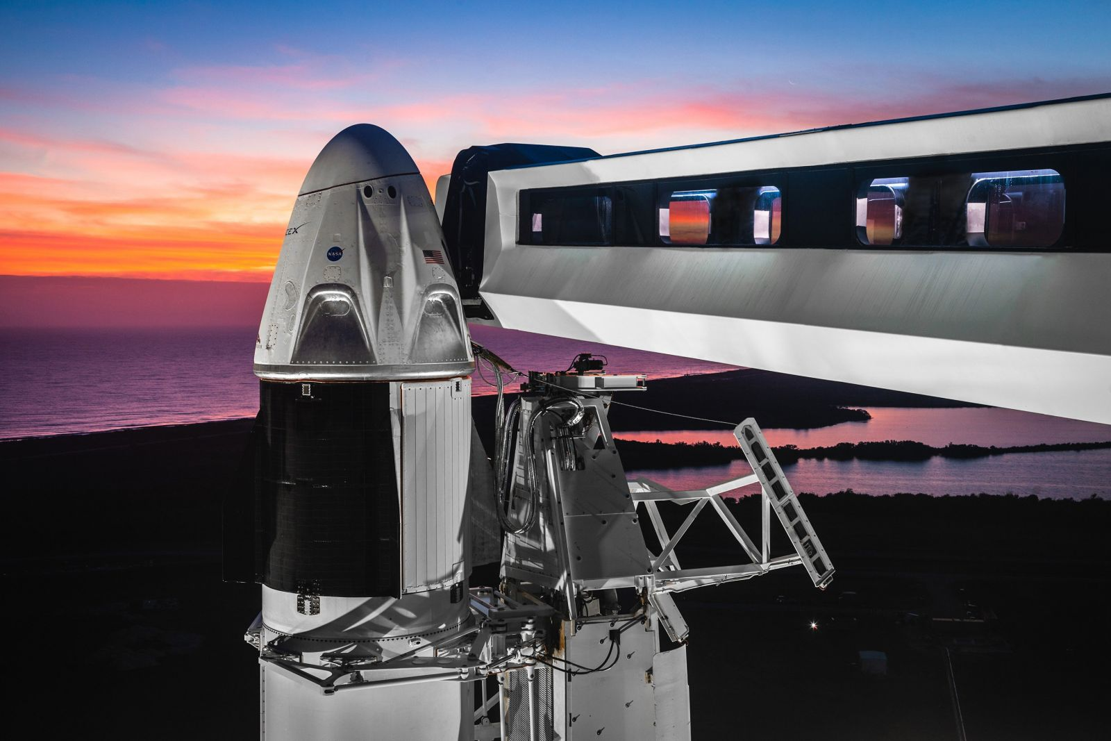 SpaceX's Falcon 9 with Crew Dragon stands at Launch Complex 39A. NASA and SpaceX completed a flight readiness review on Feb. 22, 2019, and officially set March 2 as the first attempt to launch the spacecraft toward the International Space Station. Photo Credit: SpaceX