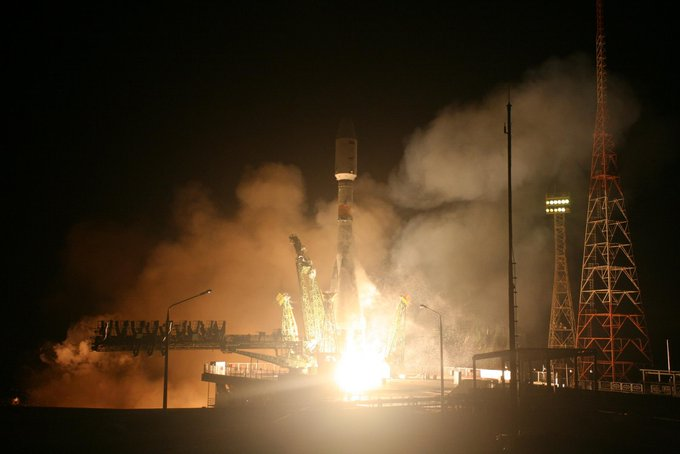 A Soyuz rocket lifts off with EgyptSat-A. Photo Credit: Roscosmos