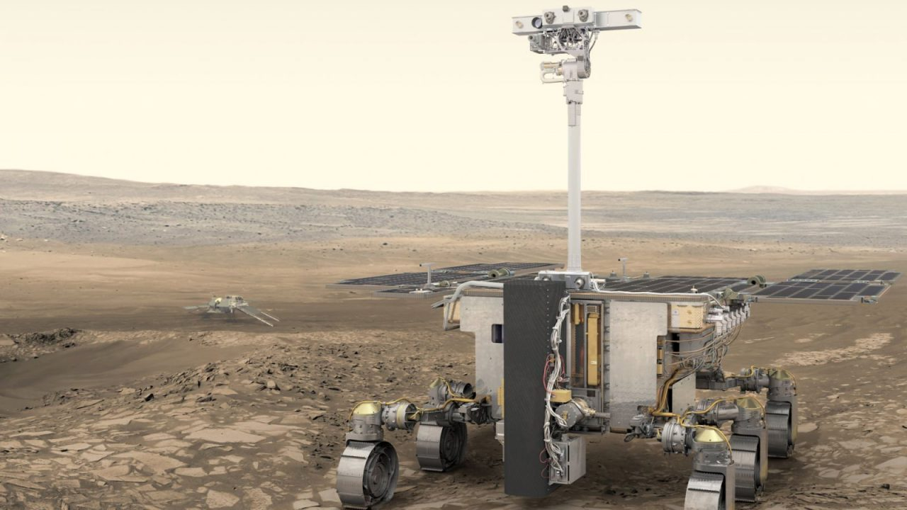 ESA's ExoMars rover (foreground) and Russia's stationary surface science platform (background) are scheduled for launch in July 2020, arriving at Mars in March 2021. Image Credit: ESA/ATG medialab