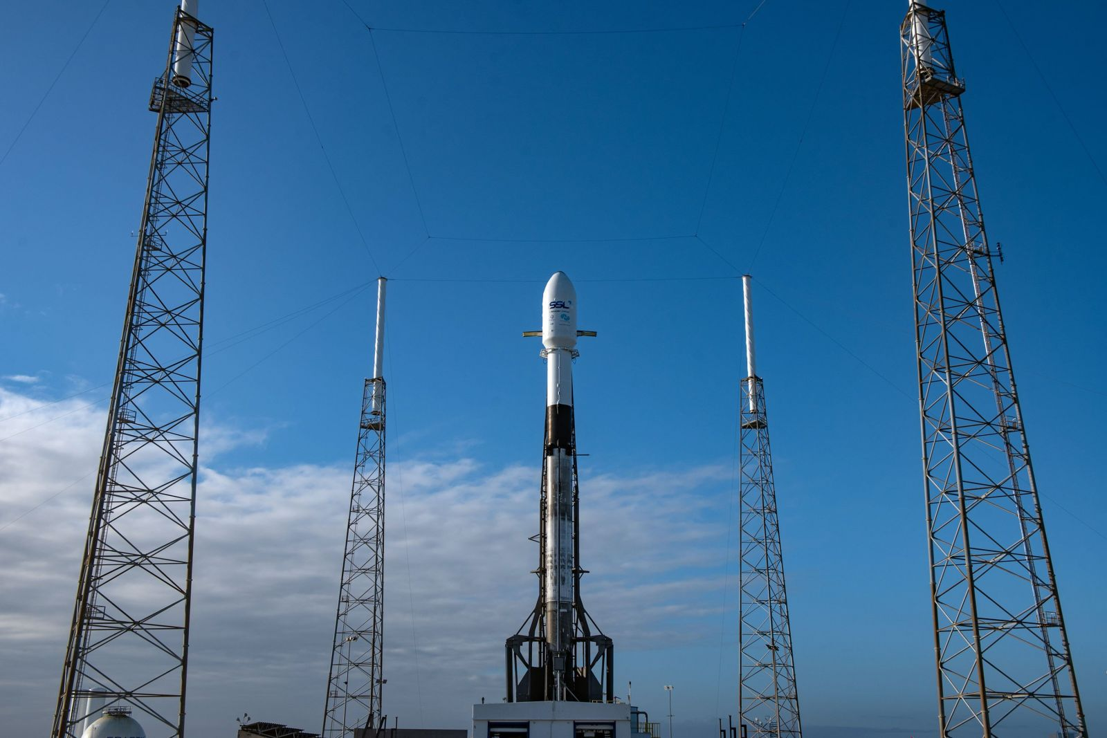 SpaceX's Falcon 9 with the PSN 6 satellite and Israeli Beresheet lunar lander encapsulated inside stands at Space Launch Complex 40 in Cape Canaveral, Florida. Photo Credit: SpaceX