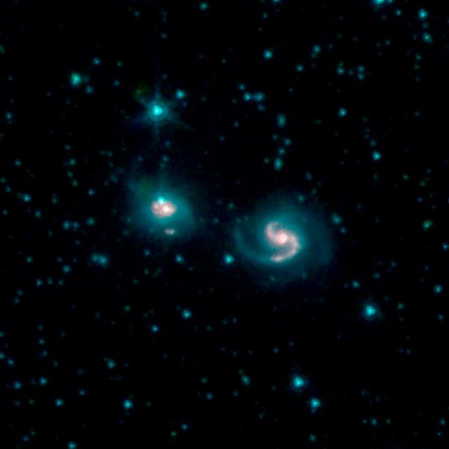 This photo shows the merger of two galaxies, the one on the right known as NGC 6786 and the one on the left known as UGC 11415, also collectively called VII Zw 96. It is composed of images from three Spitzer Infrared Array Camera channels: IRAC channel 1 in blue, IRAC channel 2 in green and IRAC channel 3 in red. Photo and Caption Credit: NASA/JPL-Caltech
