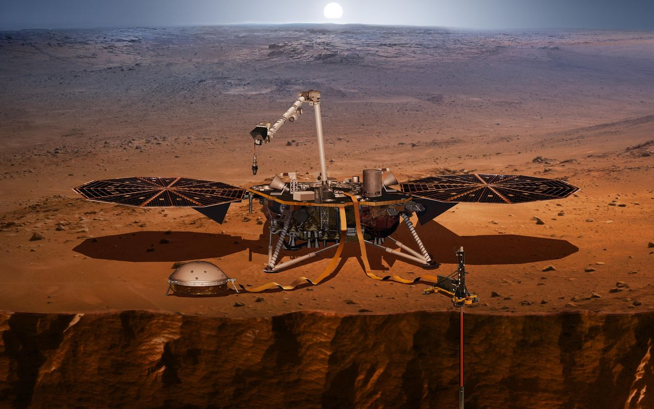 This artist's concept shows the InSight lander, its sensors, cameras and instruments. Image Credit: NASA/JPL-Caltech