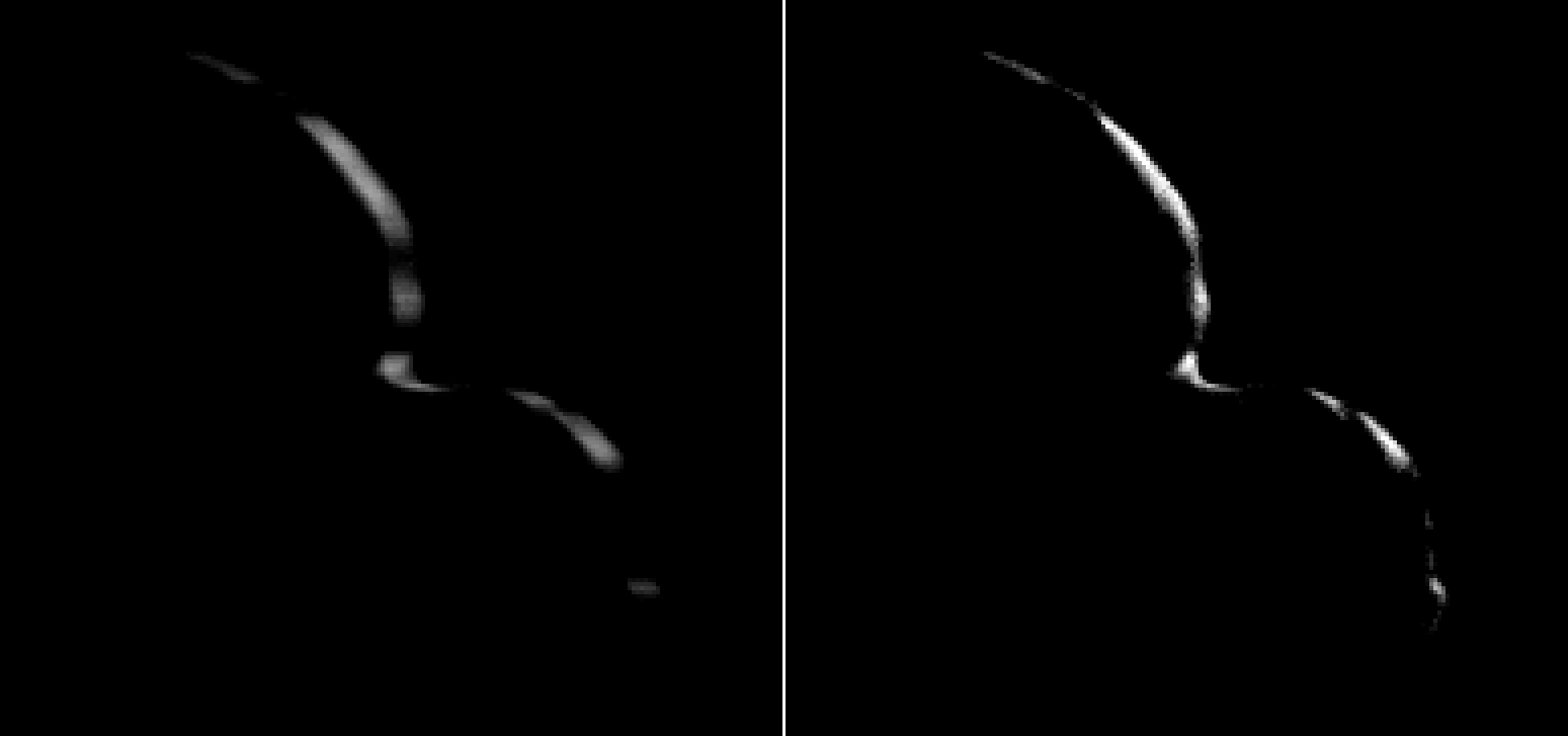"New Horizons took this image of Ultima Thule on Jan. 1, 2019. The photo to the left is an ""average"" of ten images taken by the Long Range Reconnaissance Imager or LORRI; the crescent is blurred in the raw frames because a relatively long exposure time was used during this rapid scan to boost the camera's signal level. Photo Credit: NASA/Johns Hopkins Applied Physics Laboratory/Southwest Research Institute/National Optical Astronomy Observatory"