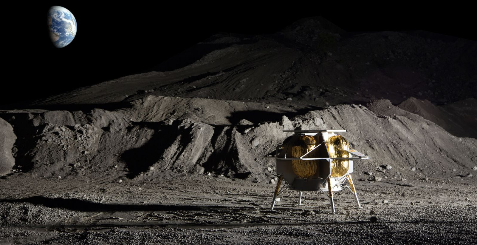 An illustration of Astrobotic's Peregrine lander on the Moon's surface. It was one of nine companies selected as part of NASA's Commercial Lunar Payload Services contract in November 2018. Image Credit: Astrobotic Technology