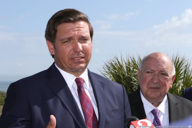 Florida Governor Ron Desantis flanked by Space Florida's CEO & President Ron Desantis made remarks unveiling Firefly's inclusion into the family of companies now operating at the Cape Canaveral Spaceport. Photo Credit: Mike Howard / SpaceFlight Insider
