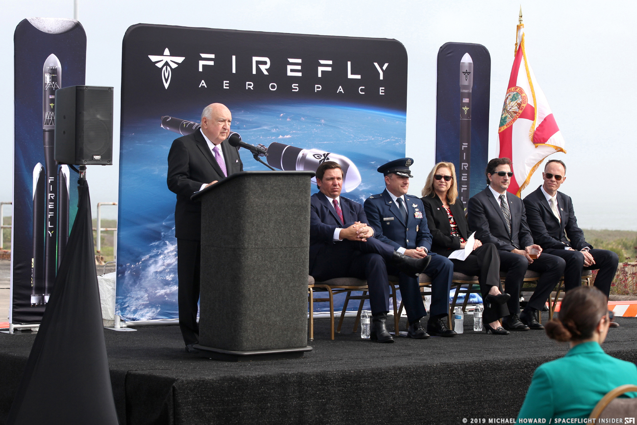 From left to right: Frank DiBello (Space Florida CEO & president), Florida Governor Ron DeSantis, Col. Thomas SteMarie (vice commander of 45th Space Wing), Janet Petro (deputy director of NASA's Kennedy Space Center), Tom Markusic (Firefly founder & CEO), Mark Watt (Firefly founder & director). Photo Credit: Mike Howard / SpaceFlight Insider