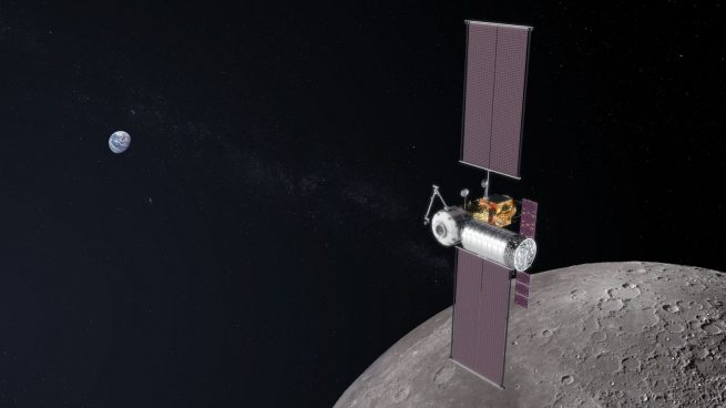 An illustration of a partially completed lunar Gateway with a logistics module docked to it. Image Credit: NASA