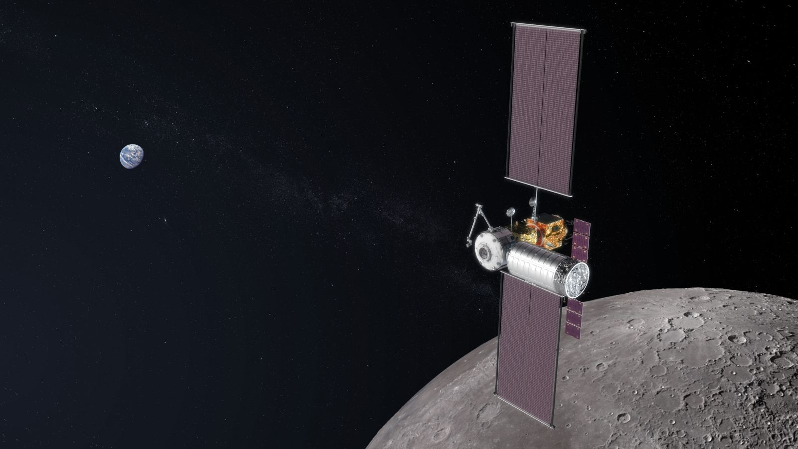 An illustration of a partially completed lunar Gateway with a logistics module attached to it. Image credit: NASA