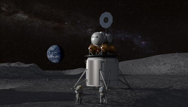 An artist's illustration of a human-rated lunar lander on the surface of the Moon. Image Credit: NASA