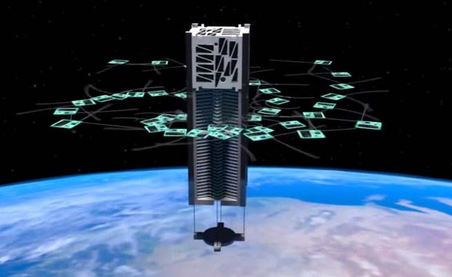 An artist's rendering of KickSat deploying its femtosatellites. Image Credit: KickSat
