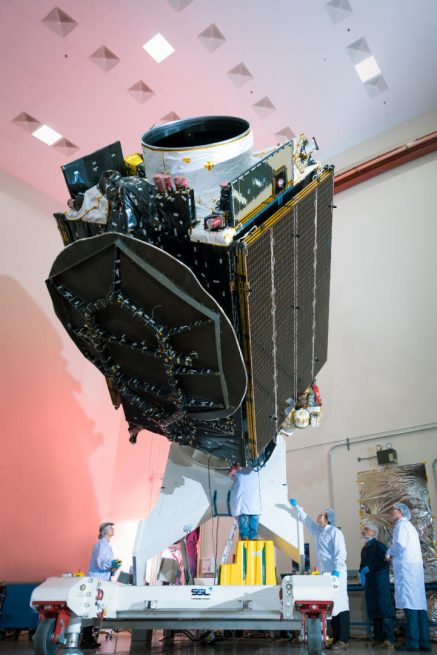 PSN 6 undergoes inspections by technicians after arriving at Cape Canaveral. Photo Credit: SSL
