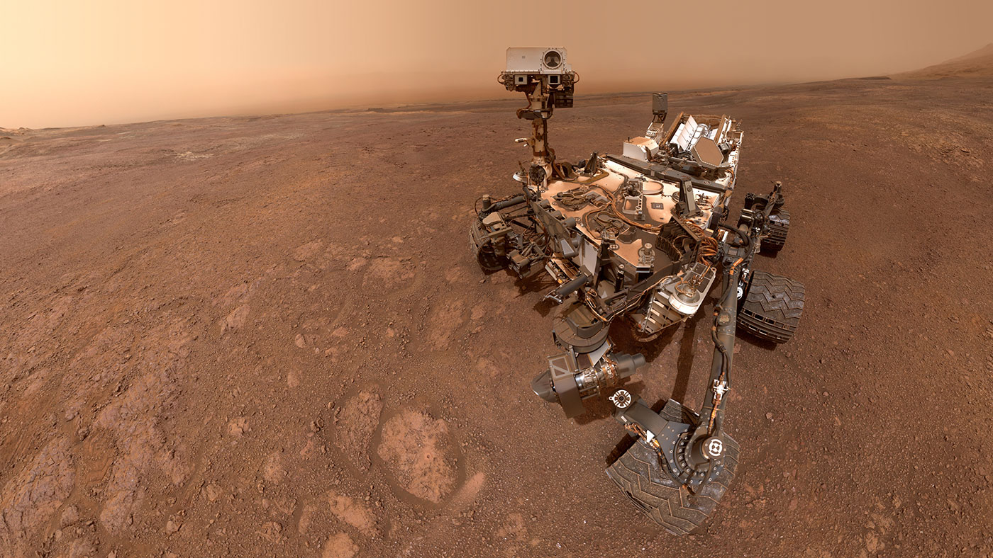 "Curiosity takes a selfie using its Mars Hand Lens Imager at the end of its robotic arm. The images were taken on Sol 2291, or Jan. 15, 2019, at the ""Rock Hall"" drill site on Vera Rubin Ridge. Photo Credit: Credits: NASA/JPL-Caltech/MSSS"