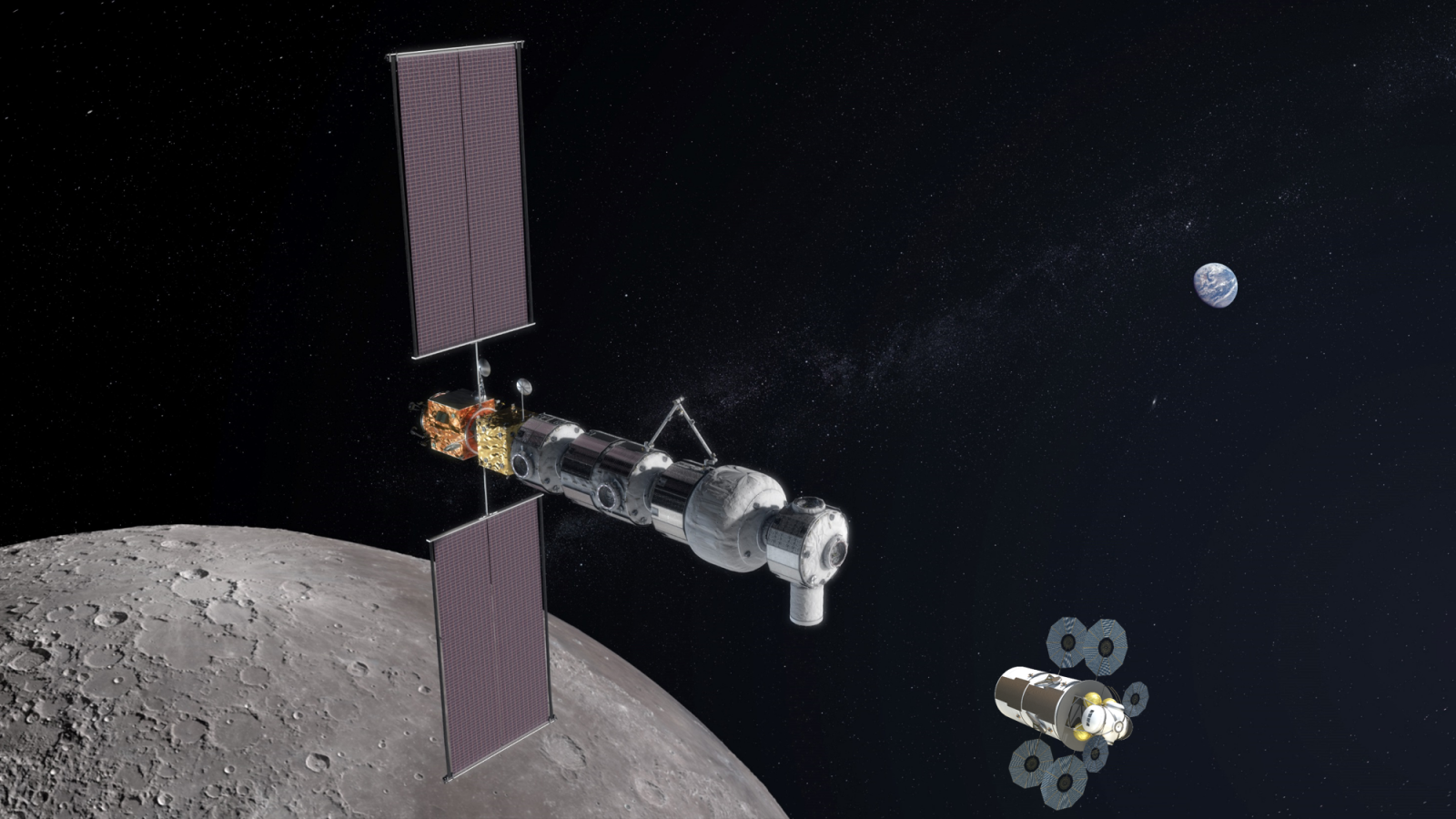 An artist's illustration of a completed lunar Gateway flying around the Moon with a commercially-developed lunar lander. Image Credit: NASA