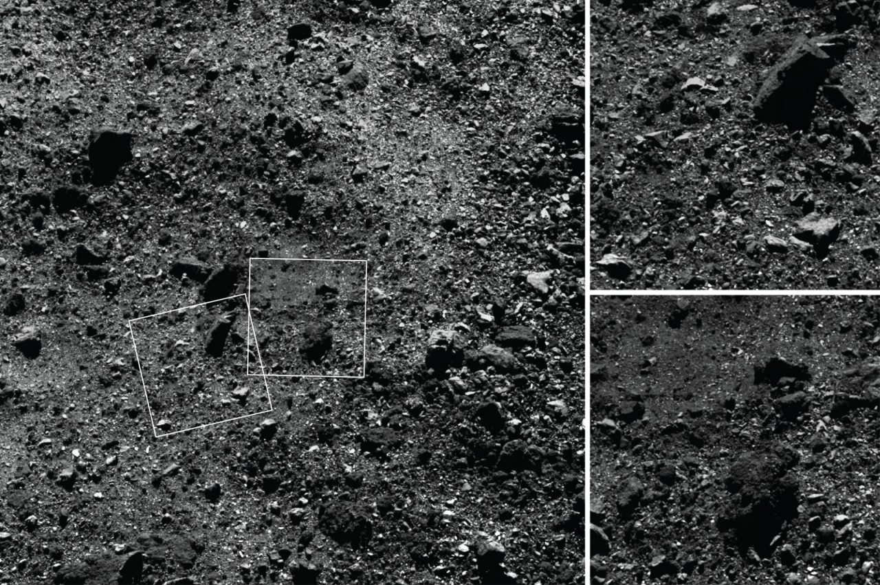 "This trio of images acquired by NASA's OSIRIS-REx spacecraft shows a wide shot and two close-ups of a region in asteroid Bennu's northern hemisphere. The wide-angle image, left, obtained by the spacecraft's MapCam camera, shows a 590-foot (180-meter) wide area with many rocks, including some large boulders, and a ""pond"" of regolith that is mostly devoid of large rocks. The two closer images, obtained by the high-resolution PolyCam camera, show details of areas in the MapCam image, specifically a 50-foot (15 meter) boulder (top) and the regolith pond (bottom). Photo and Caption Credit: NASA/Goddard/University of Arizona"