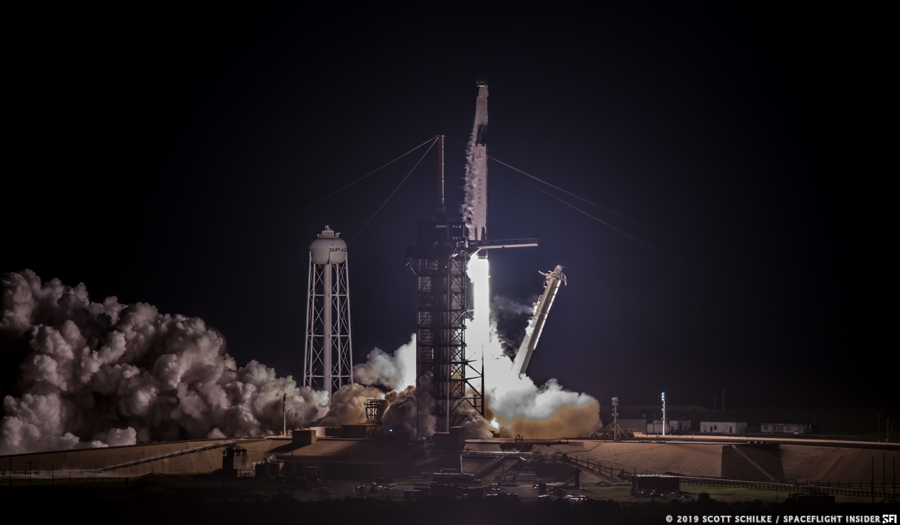 SpaceX's Crew Dragon lifts off from Kennedy Space Center's Space Launch Complex 39A atop a Falcon 9 rocket. Photo Credit: Scott Schilke / SpaceFlight Insider