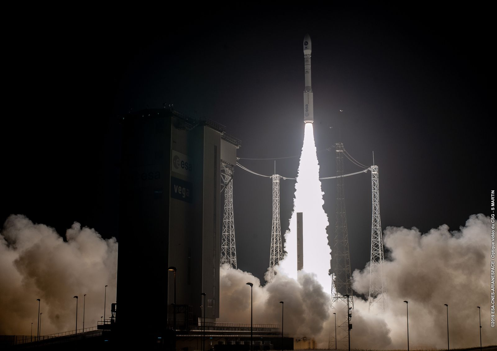 Arianespace's 14th Vega rocket launches PRISMA into space from the spaceport in French Guiana. Photo Credit: Arianespace