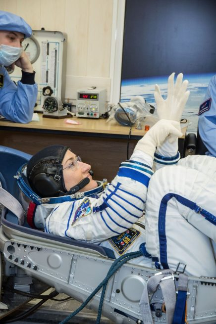 NASA astronaut Christina Koch undergoes a Sokol launch suit pressure check at Baikonur Cosmodrome in Kazakhstan. Photo Credit: Victor Zelentsov / NASA