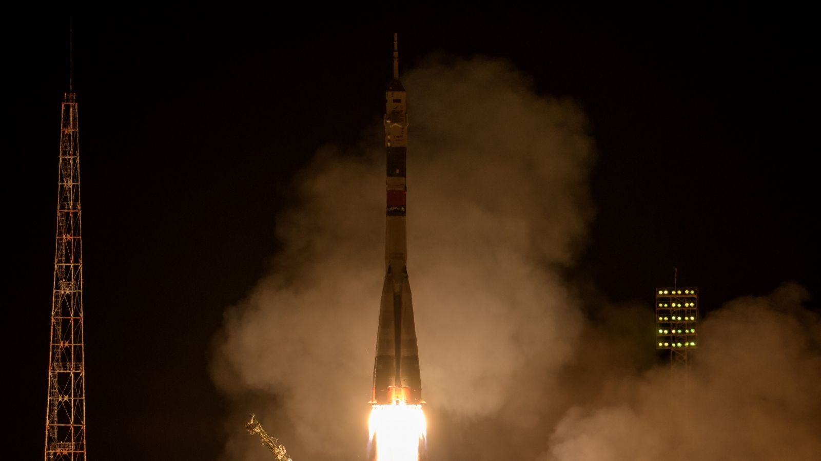 Soyuz MS-12 launches with two astronauts and a cosmonaut on a trip to the International Space Station. Photo Credit: Bill Ingalls / NASA
