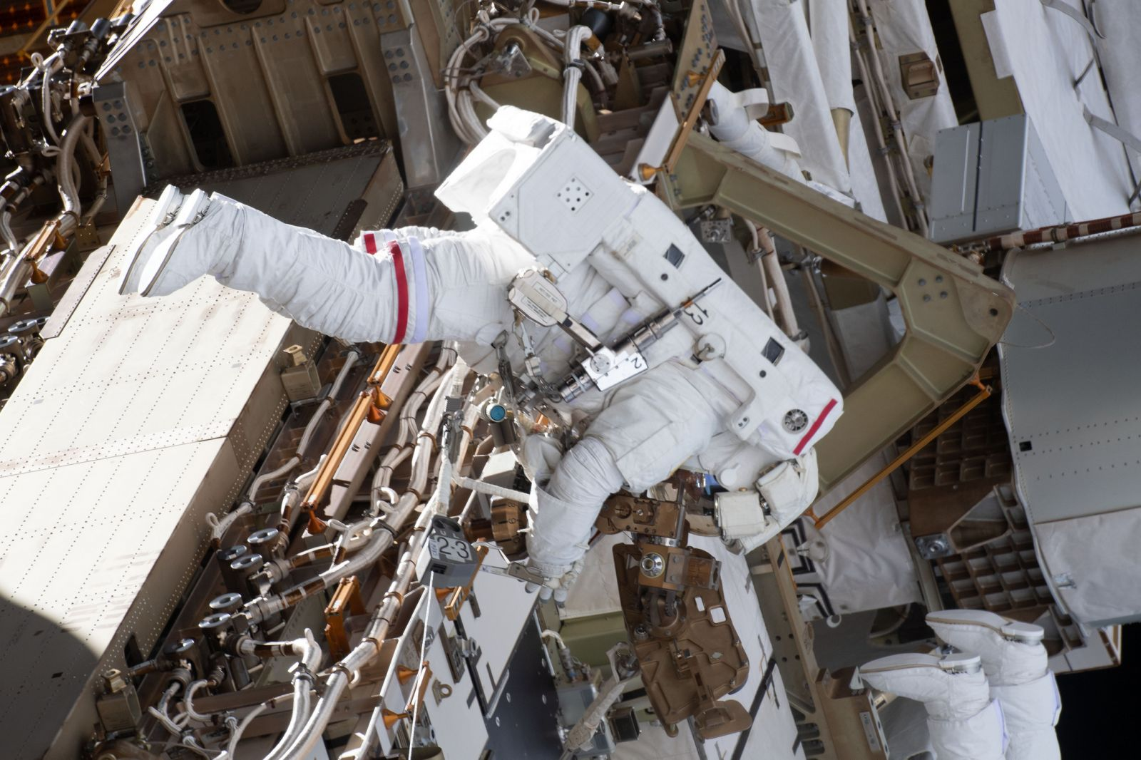 Anne McClain during her first spacewalk, U.S. EVA-52, on March 22, 2019. Photo Credit: NASA