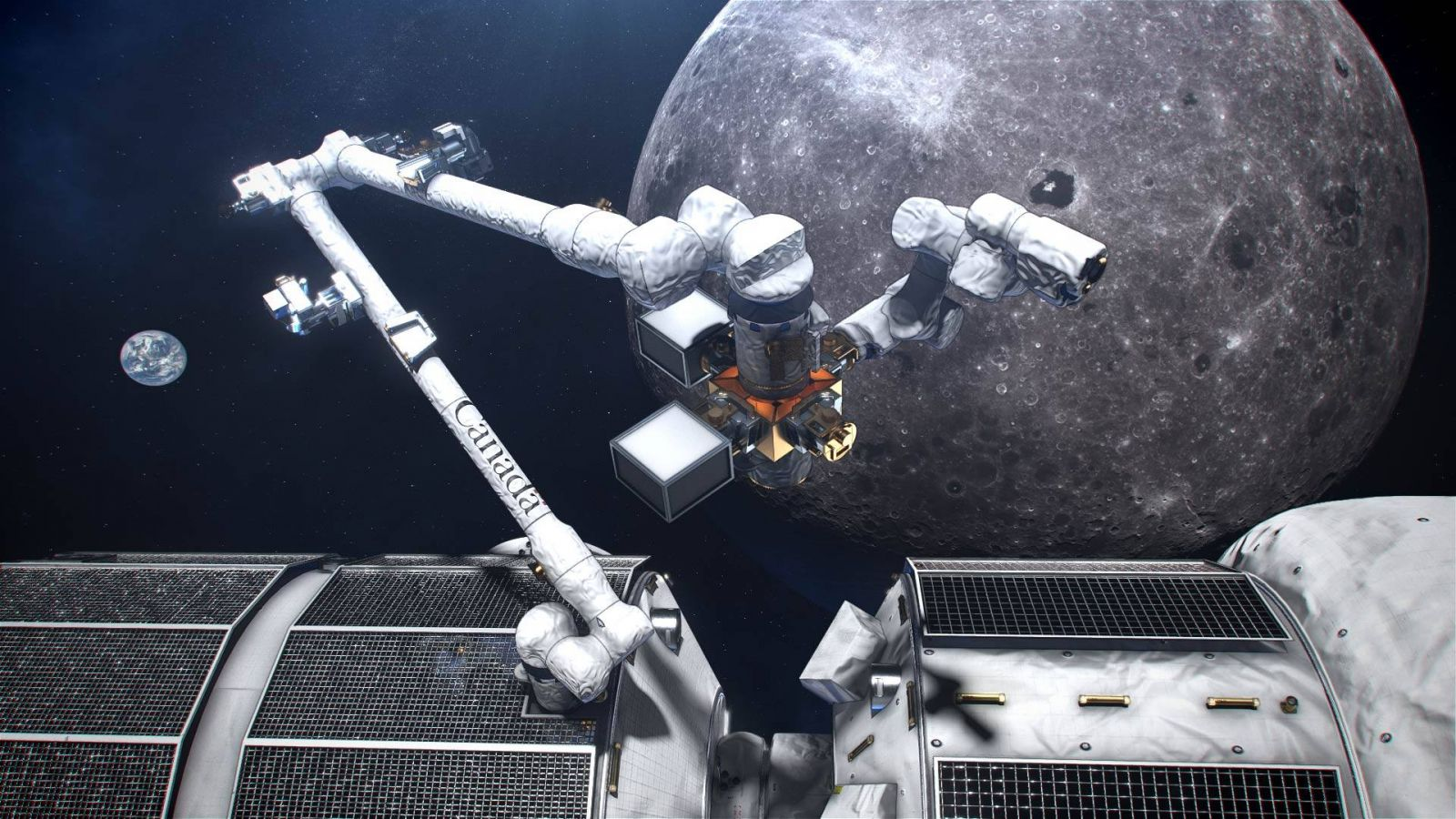 "An artist's rendering of ""Canadarm3"" at the proposed Lunar Gateway. The Canadian Space Agency has committed to joining NASA on this lunar outpost project. Image Credit:"