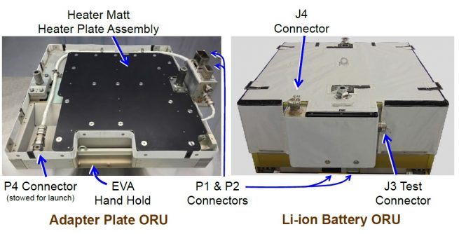 The adapter plate, left, compared with the lithium-ion batteries. Three adapter plates were installed during U.S. EVA-52. Image Credit: NASA