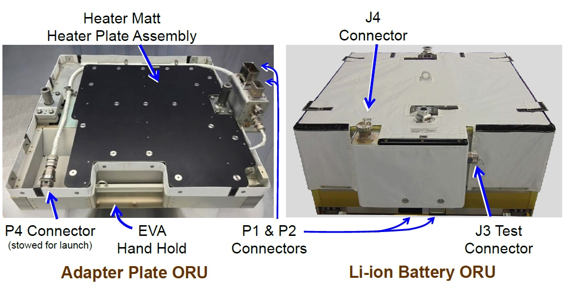 The adapter plate, left, compared with the lithium-ion batteries. Three adapter plates were installed during U.S. EVA-52 and another three during U.S. EVA-53. Image Credit: NASA