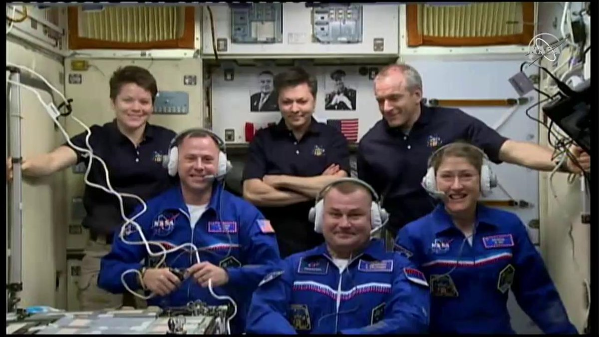 The full Expedition 59 crew following the docking of Soyuz MS-12. Top row: NASA astronaut Anne McClain, Russian cosmonaut Oleg Kononenko, and Canadian Space Agency astronaut David Saint-Jacques. Bottom row: NASA astronaut Nick Hague, Russian cosmonaut Aleksey Ovchinin, and NASA astronaut Christina Koch. Photo Credit: NASA