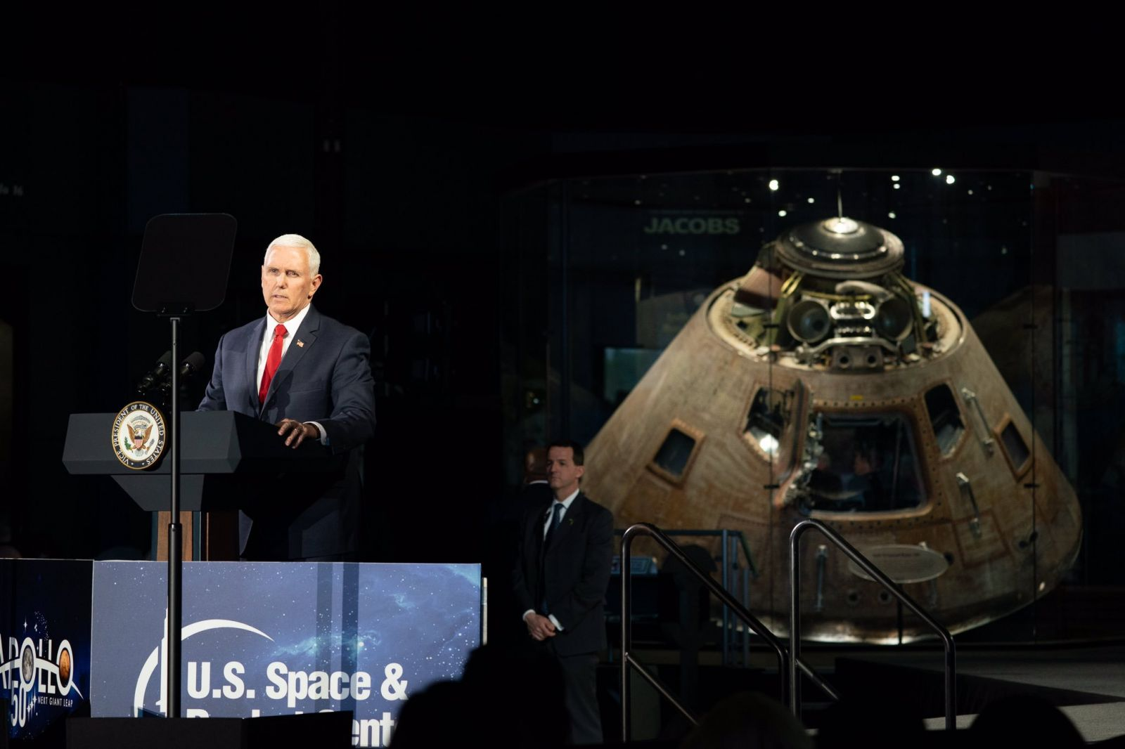 In a speech at the Marshall Space Flight Center in Huntsville, Alabama, Vice President Mike Pence challenged NASA to land U.S. astronauts on the Moon by 2024. Photo Credit: NASA / White House