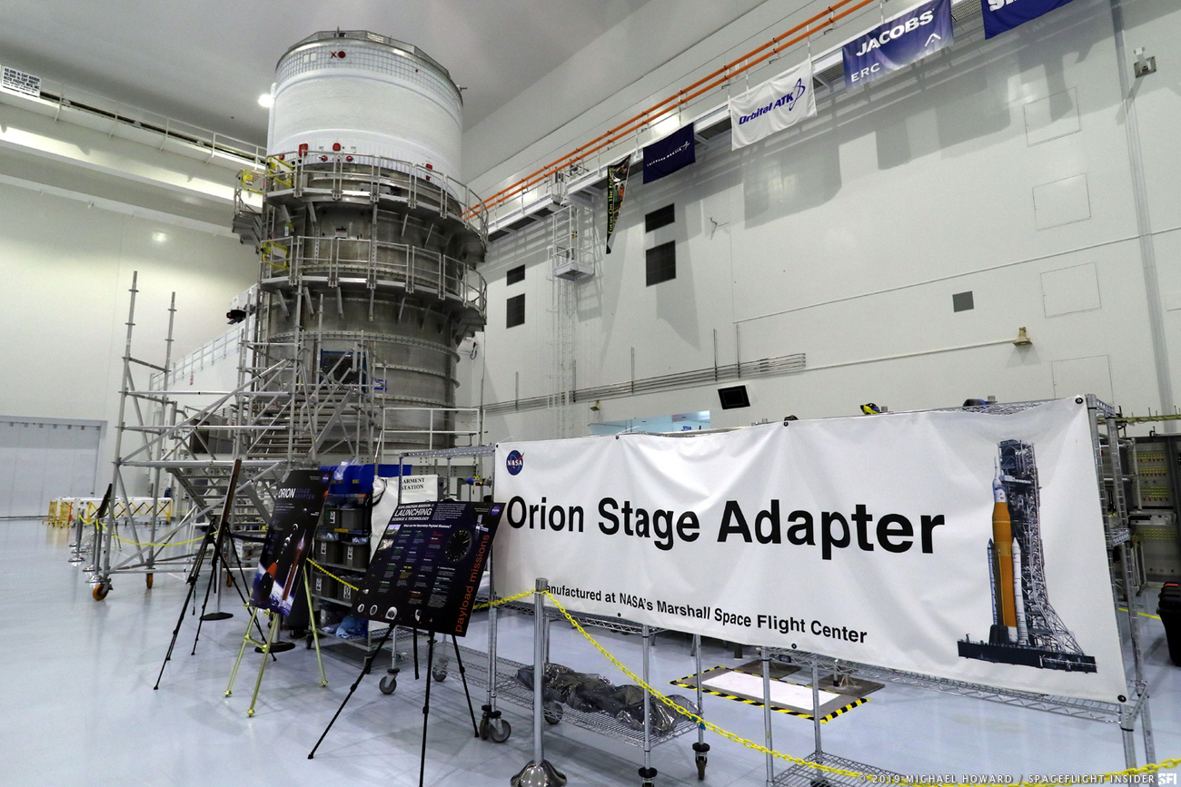 The Orion Stage Adapter waits at Kennedy Space Center for integration into the full Space Launch System Exploration Mission 1 stack before its no-earlier-than-2020 launch date. Photo Credit: Michael Howard / SpaceFlight Insider