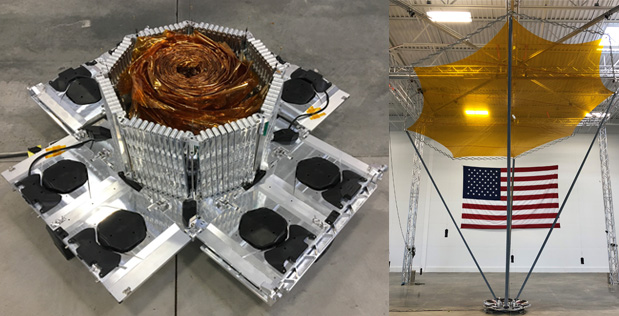 The R3D2 payload antenna as seen during development. Photo Credit: DARPA