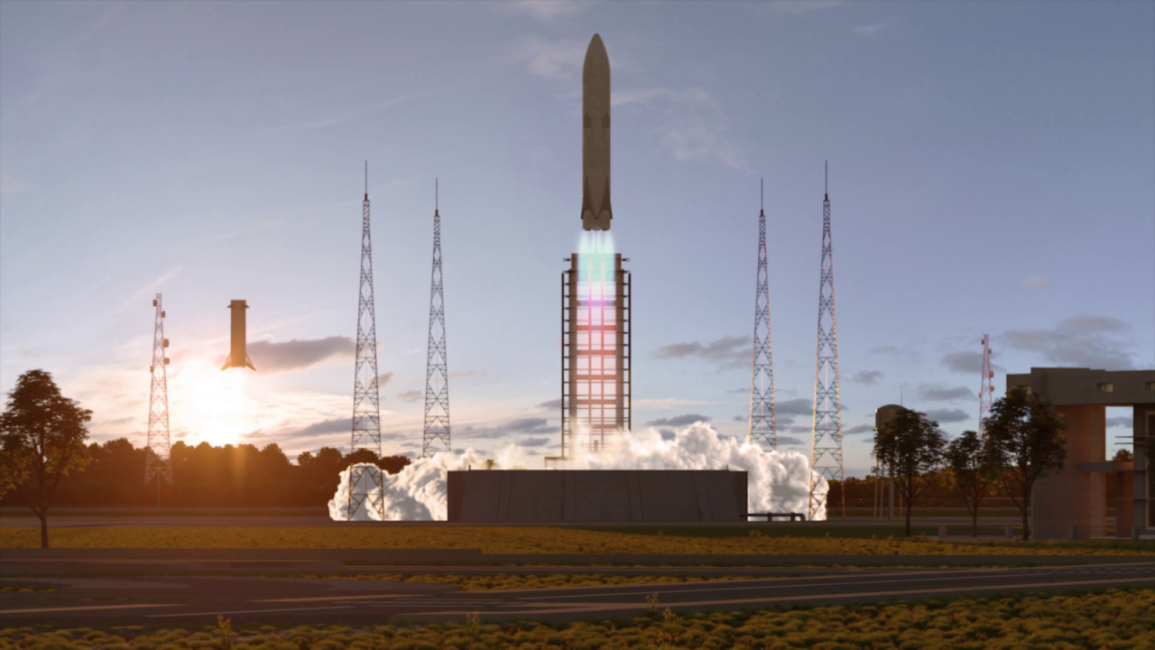 Concept art of the Themis demonstrator launching while another Themis first stage lands in the background. Image Credit: ArianeGroup