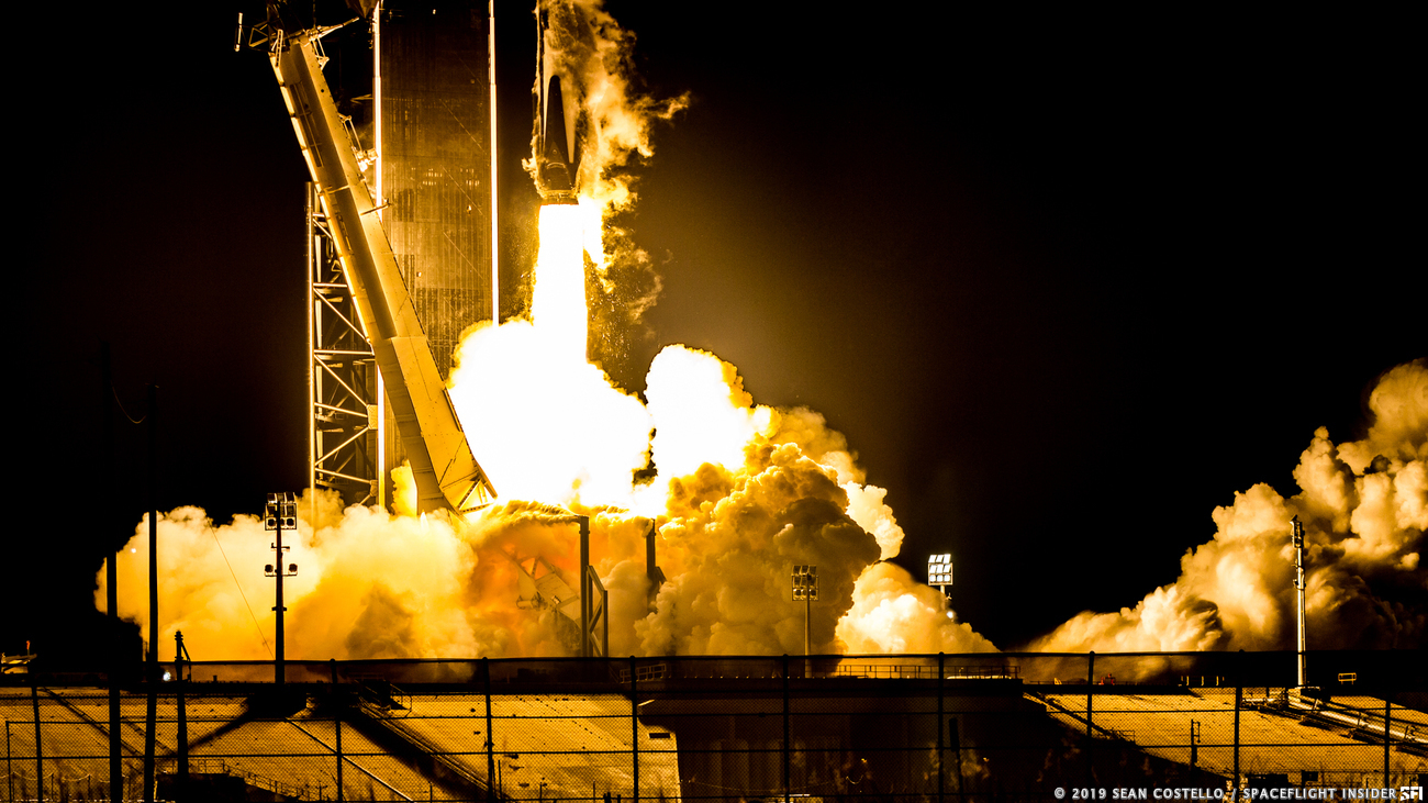 Falcon 9 with Crew Dragon rumbles off the pad. Photo Credit: Sean Costello / SpaceFlight Insider